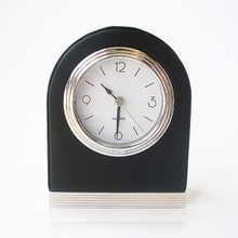 Black mini table leather wooden metal digital alarm clock with light for kids