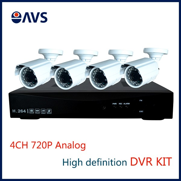 Outdoor Security 1/3'' CMOS AHD 4CH 720P Bullet CCTV Camera DVR Kit