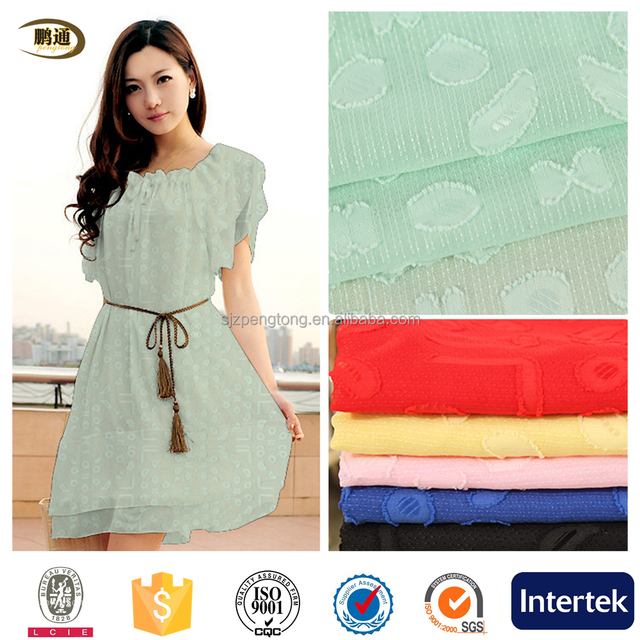 pengtong 100 polyester clipped fabric chifon in dress