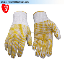 glove machine auto knitting white cotton gloves with pvc dots white cutters gloves for garden work