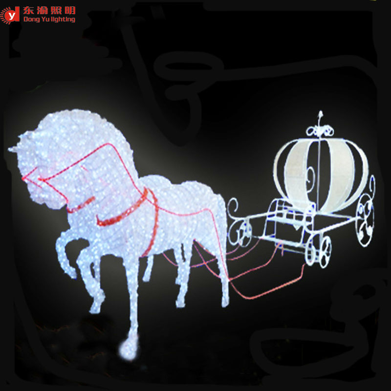 Christmas Lighted Horse Carriage Outdoor Decoration : Outdoor christmas decoration horse carriage motif d led