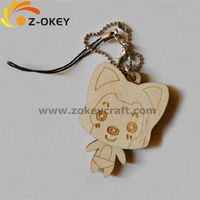 latest style Wooden laser carving key chain with cute Ali doll shape www.alibaba.com