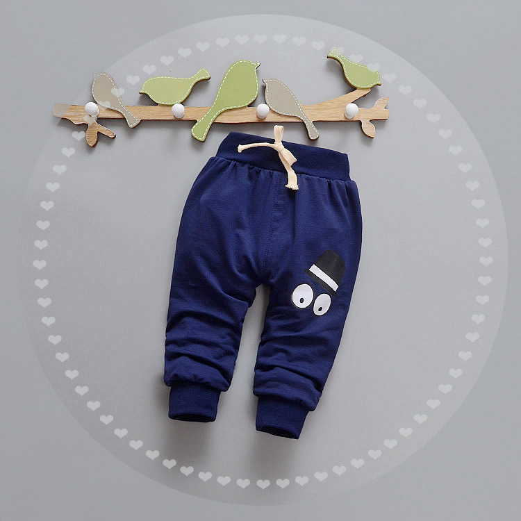 E1038 2017 wholesale spring boys cotton pants printed long kids fashion casual leggings