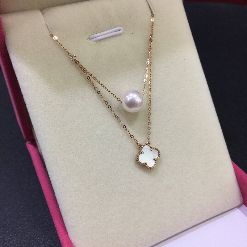 Sinya Hot 18k gold four leaf natural pearl pendant charm necklace for women white or black color optional Fine jewelry Hotsale (9)