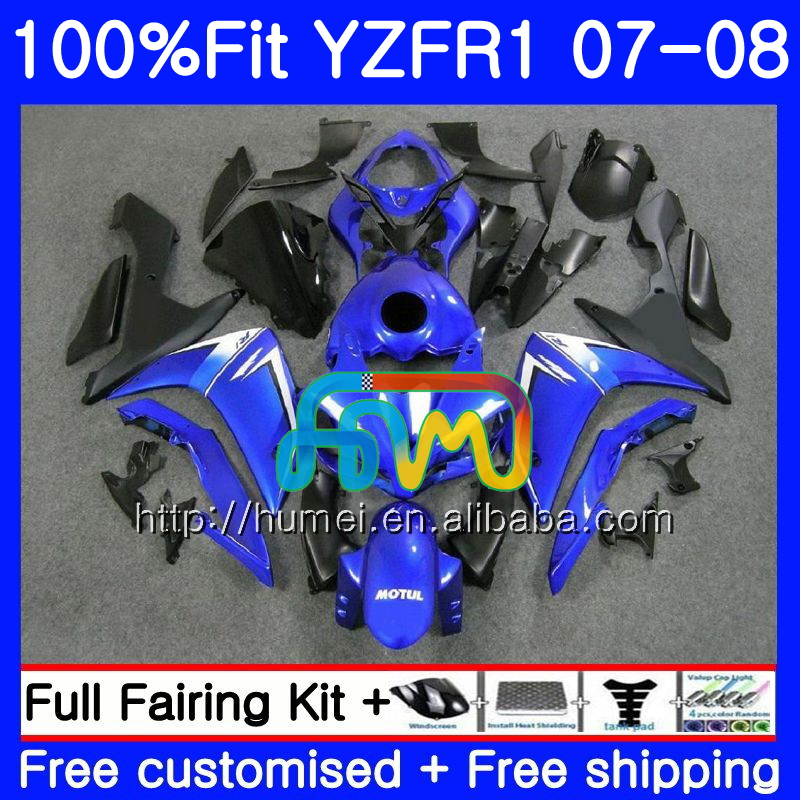Injection Bodys For YAMAHA blue black YZF 1000 R 1 YZF <strong>R1</strong> 07 08 90HM17 YZF1000 YZFR1 07 08 YZF-1000 YZF-<strong>R1</strong> 2007 <strong>2008</strong> <strong>Fairing</strong>