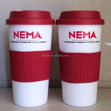 16ozl double wall Eco-friendly PP Plastic coffee cup with rubber sleeve double walled thermal plastic cup