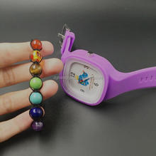 Lovely design Women Girls Silicone Jelly Band Watch Set With Bead Bracelet