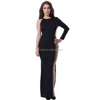 XXL plus size black sequin sexy women asymmetric long sleeve maxi dress