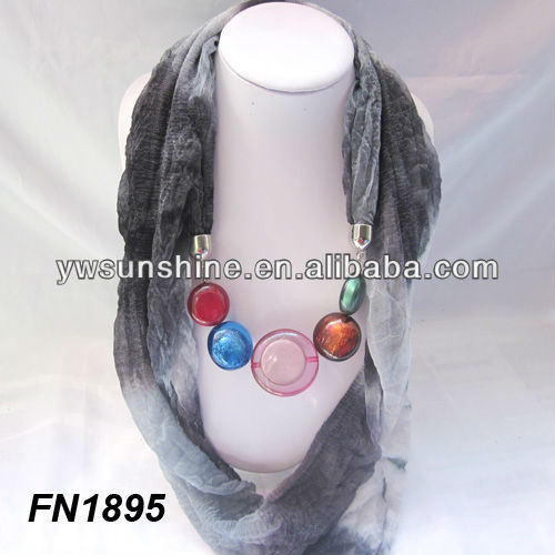 Scarf with necklace jewel beads pendant