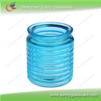 Wholesale decorative colored glass candles container