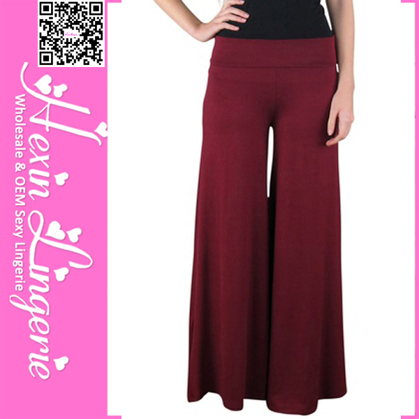 2014 High Quality Baggy Burgundy Wide Leg silk palazzo pant