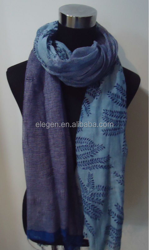Leaves and Stripe Patten Printing Scarf