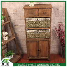 country style tall storage wood cabinet with drawers and baskets