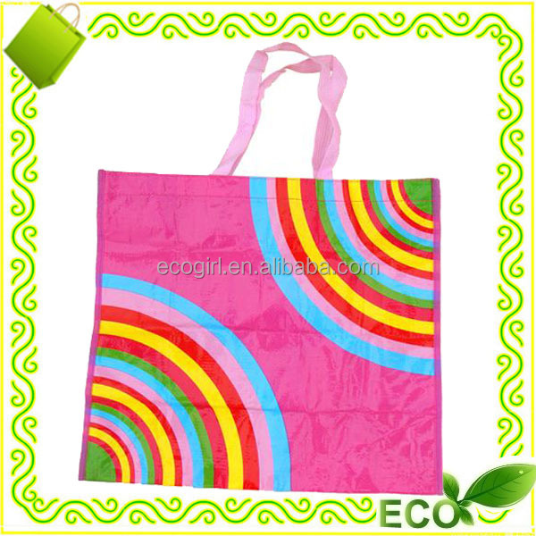 reusable recyclable cute bopp laminated pp non woven eco shopping grocery promotional tote bags pink