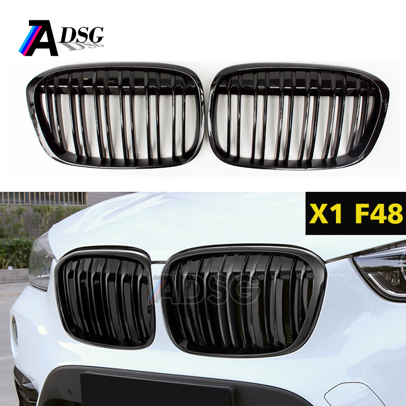 F48 dual slat gloss black replacement front kidney grill grille mesh for BMW new X1 F48 2015+ xDrive25i