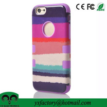 mobile accessories factory fancy cute colourful pc+silicon combo cheap double cell phone case for iphone 6
