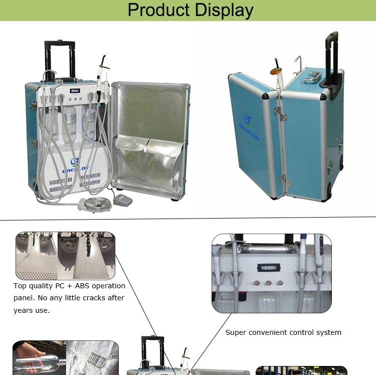 2017 hot sell GU-P206 portable dental unit with air compressor with dental light cure unit