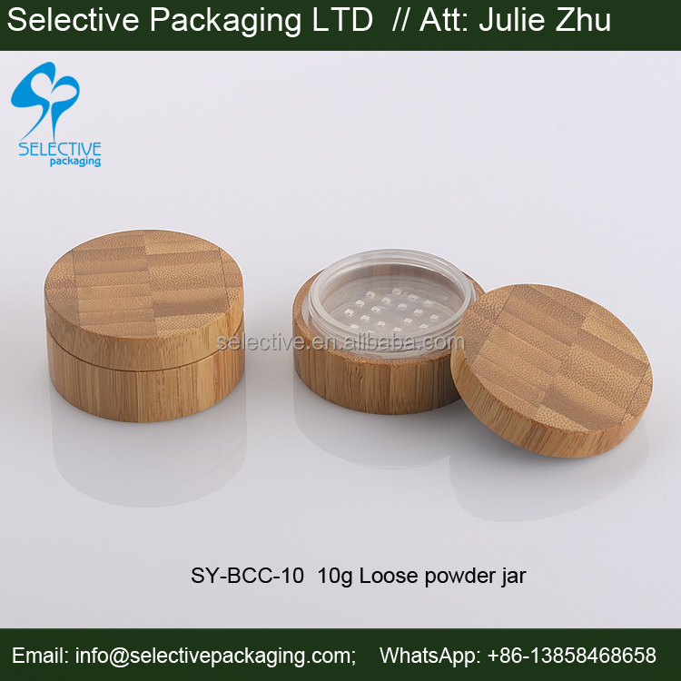 empty cosmetic packaging wood 10g loose powder sifter jars