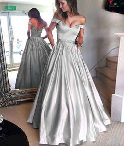 ZH4015G Silver Prom Dresses Long 2019 A-line Off the Shoulder Short Sleeves  Beaded Sash ab044e0e2e7e