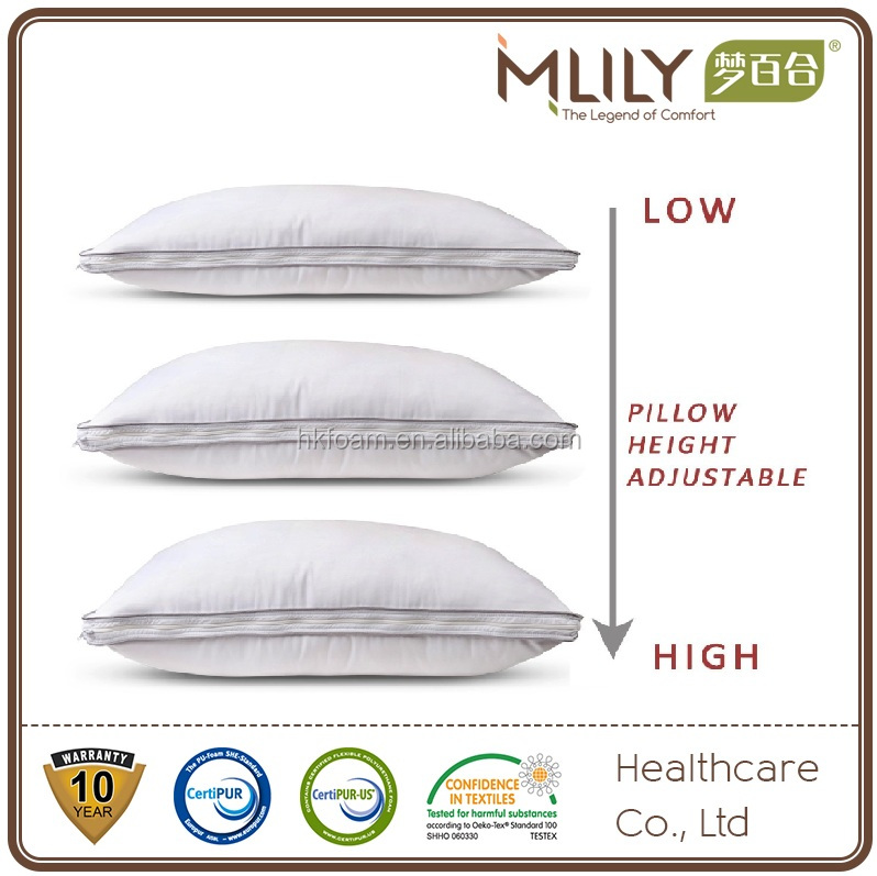 Duck down shredded memory foam adjustable pillow