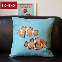 Creative Fish Design Printed Chair Seat Cushion Cover