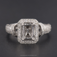 SOLID 14K White Gold Emerald Cut 6*8mm Natural 0.67ct Diamond Semi-Mount Ring