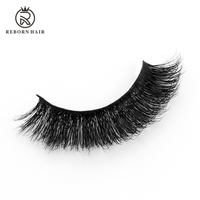 Luxurious Super Thin Band 100% Siberian Mink Fur 3D False Eyelash Natural Messy Volume Fluffy Long