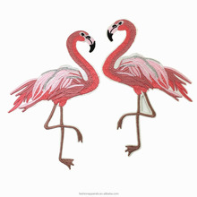 10x15cm Iron On Embroidered Flamingo Patch Pink Birds Applique Embroidery Patches For Clothing