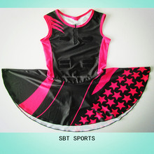 OEM black and red custom new style and new pattern netball dress