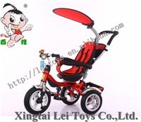Wholesale exercise safety three wheel metal bicycle child tricycle,canopy shade baby tricycle for kids rotate seat