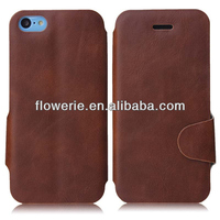 FL2887 2013 Guangzhou new arrival stand crazy horse pattern wallet leather case with card holder for iphone 5c