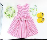 Newest High Quality Seersucker Dress Baby Girls Pink Stripe Sleeveless Childrens Dresses Kids Clothing