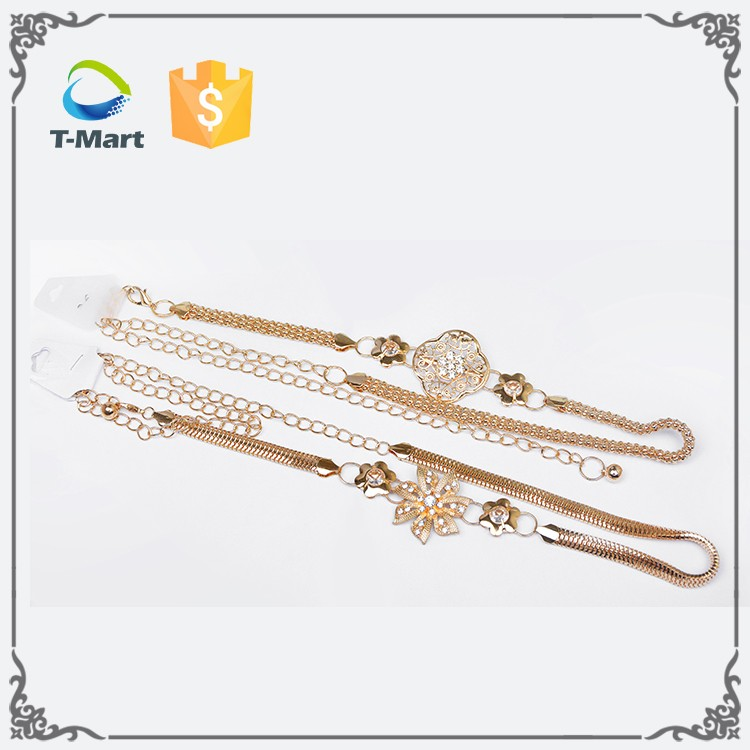 2017Best selling golden indian girls women's sexy waist chain