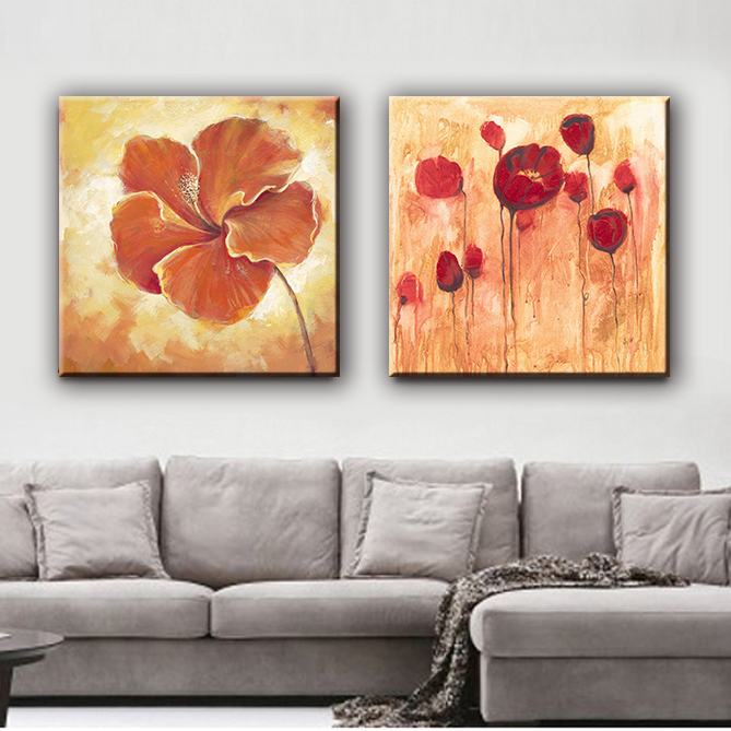 Beautiful oil rose flower modern chinese wall canvas art painting in hot sale