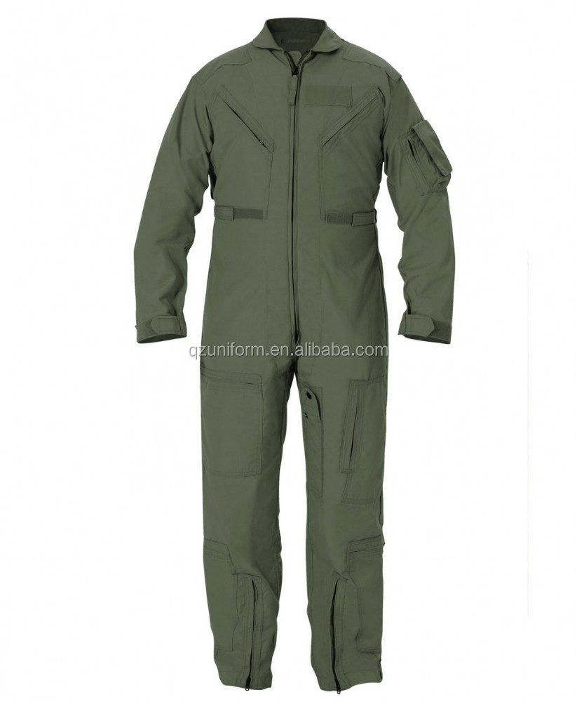 Olive Green Pyrovatex Fire Resistant Anti-static Pilot Aviation Coverall <strong>W</strong>\/ Zipper Pocket