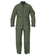 Olive Green Pyrovatex Fire Resistant Anti-static Pilot Aviation Coverall W\/ Zipper Pocket