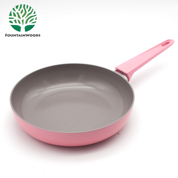 LFGB FDA Certification Cherry Blossom Pink Non Stick Divided Frying Pan in Cooking