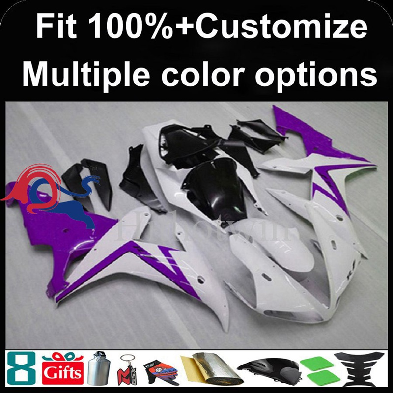 Injection mold purple white motorcycle cowl for Yamaha YZF-<strong>R1</strong> 2002-2003 <strong>02</strong> <strong>03</strong> YZFR1 2002 2003 <strong>02</strong>-<strong>03</strong> ABS Plastic Fairing