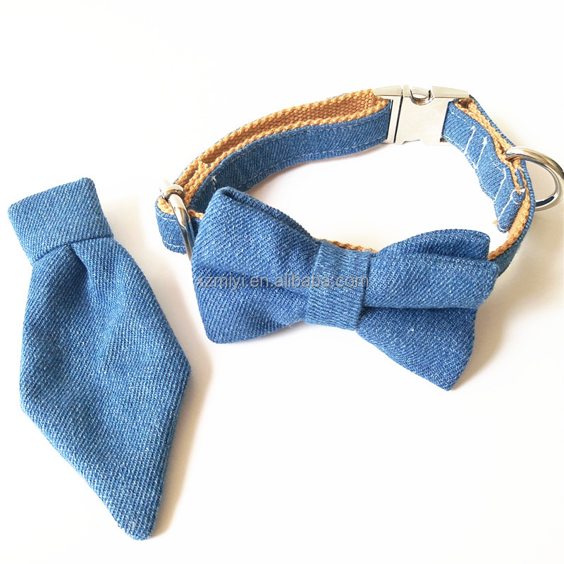 Jeans Bow Tie Dog Collar & neck tie collar leash & Personalized Engraved Dog Collar with All Metal Buckle