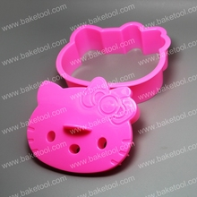 Cute plastic hello kitty cat shaped cookie cutter for cake decoration