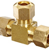 Metals Brass Compression Tube Fitting Tee