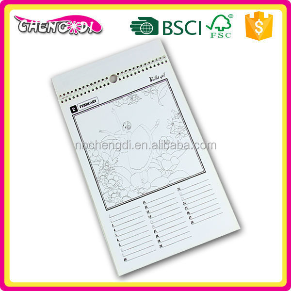 quality 2016 spiral binding printing customized promotional desk calendar