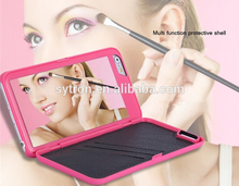 Fashion Design Lady Cosmetic Dual Layer With Leather Card Slot Makeup Mirror Phone Case for iPhone