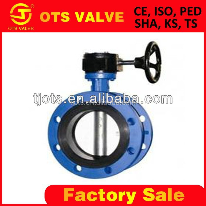ISO standard DN125 double flange worm gear operated casting iron stainless steel disc wafer butterfly valve