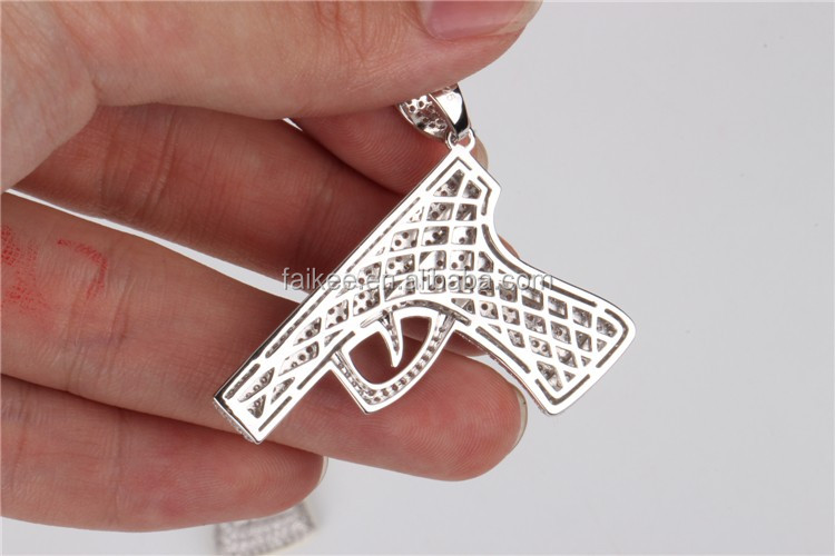 wholesale hip hop jewelry gun10k gold plating two tone mens jewelry