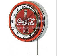"18"" DOUBLE NEON LIGHT CLOCK red"