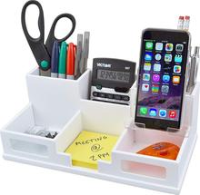 Wood Office Stationery Desk Storage Organizer Set with Smart Phone Holder