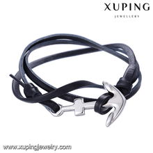 bangle-232 Xuping black leather anchor nautical rope bracelet,stainless steel coolman jewelry,cord bracelet