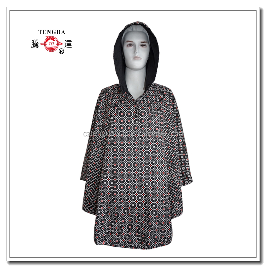 raincoat factory adult printed polyester coated pvc rain poncho