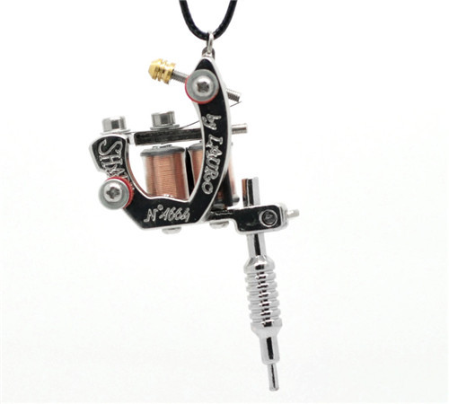 1PC Silver Tone Mini Tattoo Machine Necklace 45cm